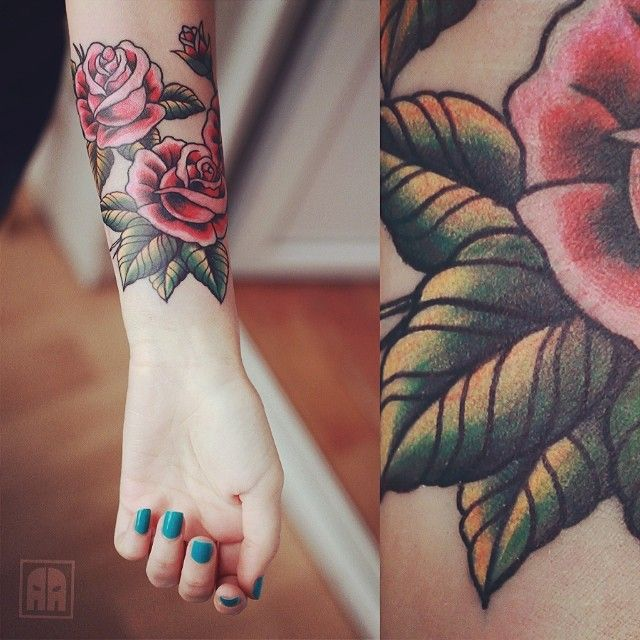 Body Art Tattoos: Pink Roses with Green Leaves Shaded Forearm Tattoo | #bodyarttattoos #tattoos #tattooinspiration