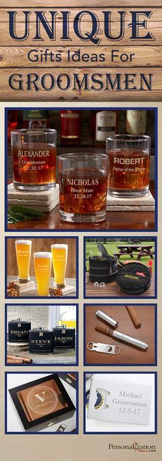 LOVE these unique groomsmen gift ideas and LOVE that they're all personalized so they're extra special! Love the personalized whiskey glasses, flasks and cigar cases - they're perfect gift ideas for guys!