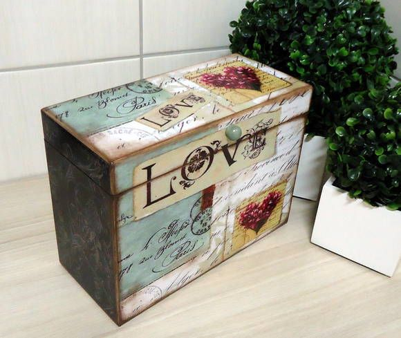 Beautiful DIY Decoupage Recipe Box. Child also be a momento box, or hold some favorite pictures.