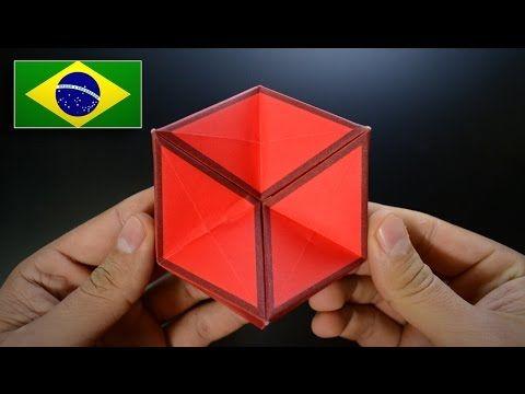 Origami: Porta Canetas / Caixinha - Instruções em Português BR - YouTube