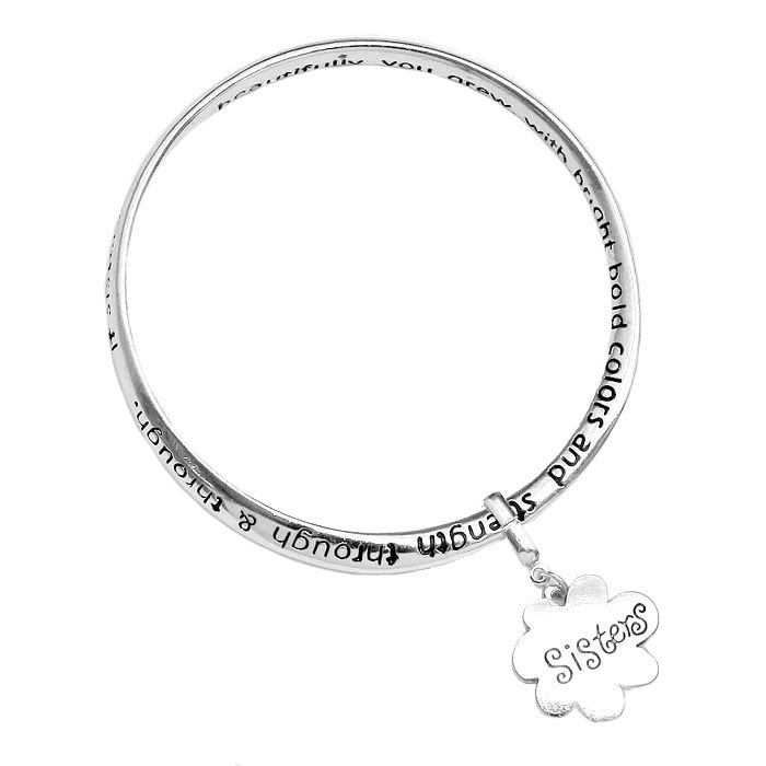 White Gold-plated Brass Sisters Message Bangle Bracelet