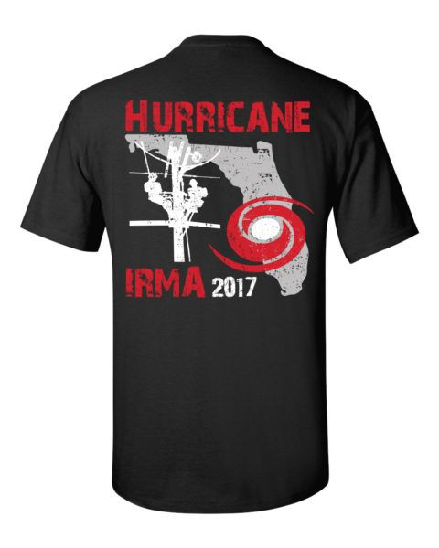 Hurricane Irma 2017 – State of Florida outline with lineman silhouette and hurricane symbol. Black short sleeve shirt.