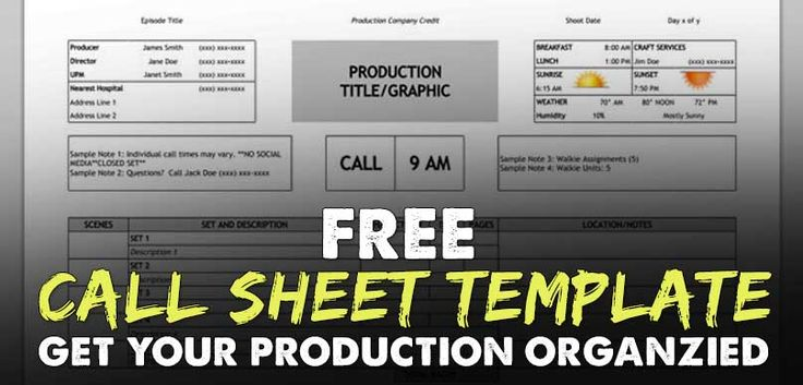How do you make sure you and your crew know where they are going - call sheet template