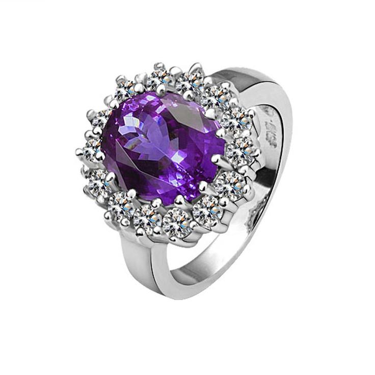 Фиолетовый Круглый Crystal White Позолоченные кольца