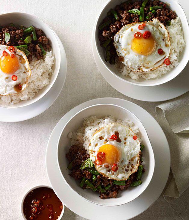Pork pad kra pao with fried egg