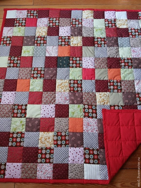 Купить Детское лоскутное одеяло - ярко-красный, американский хлопок, цветной, яркий, бязь, синтепон