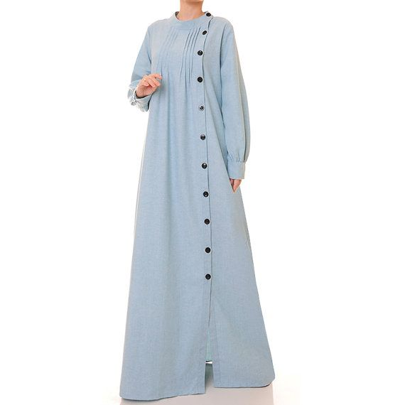 Pale Blue Cotton Linen Long Sleeved Abaya Maxi by Tailored2Modesty