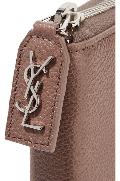 Saint Laurent - Rive Gauche Textured-leather Continental Wallet - Taupe - one size