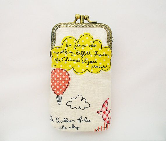 iPhone wallet / Double Pockets / iPhone Sleeve / iPhone Case / gadget case Hot Air Balloon travel (iPhone 5, Samsung Galaxy S4)