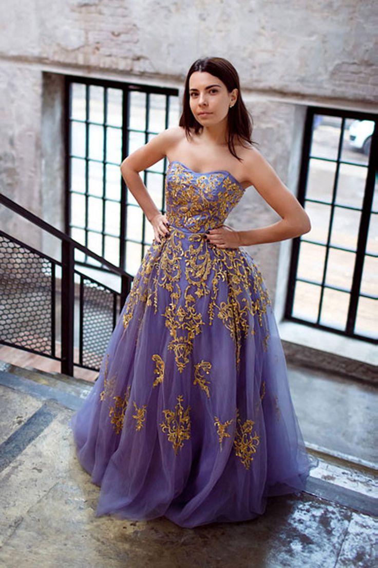 Lavender tulle prom dress with gold appliques, sweetheart prom dress