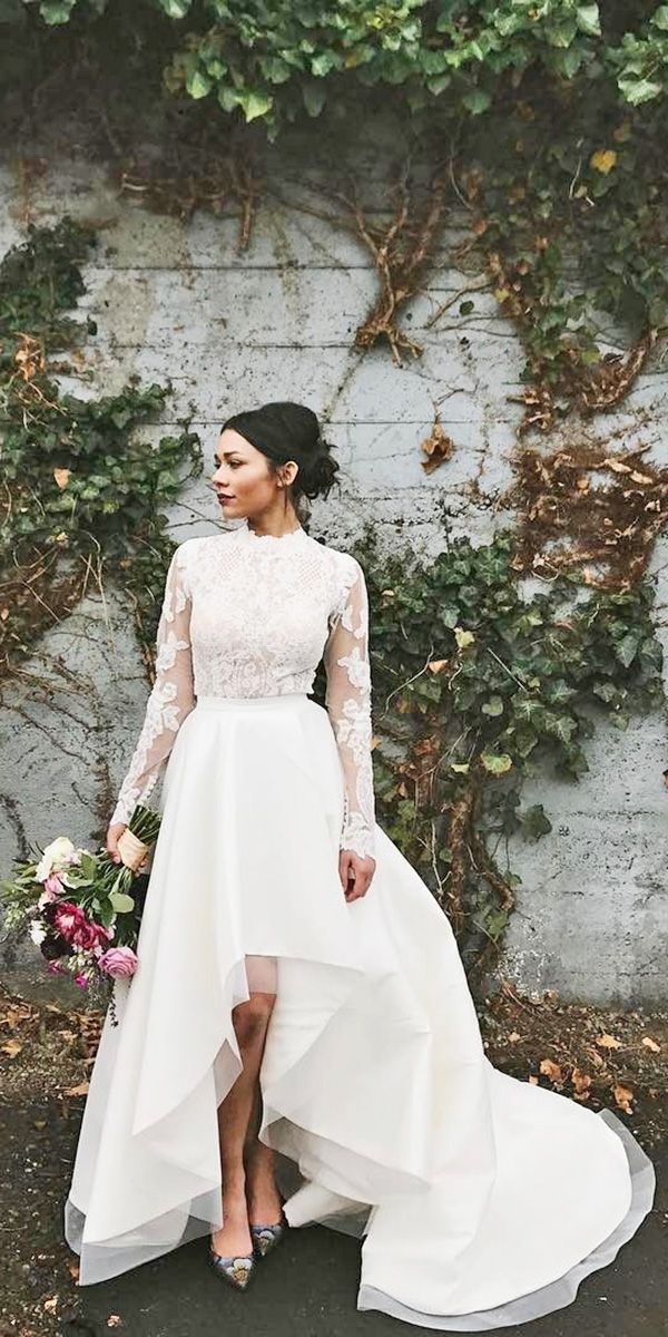 Top 24 High Low Wedding Dresses ❤ See more: http://www.weddingforward.com/high-low-wedding-dresses/ #weddings