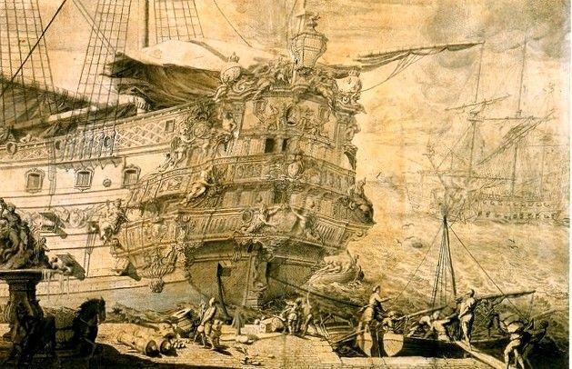 """Dessin du décor de poupe du vaisseau  """"Dauphin Royal"""",  attribué à Pierre Puget"""