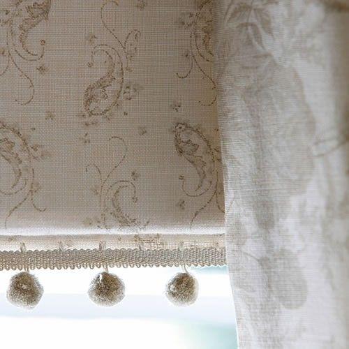 kate forman designs | Eliza Linen Fabric Beige linen with printed pale sage paisley design