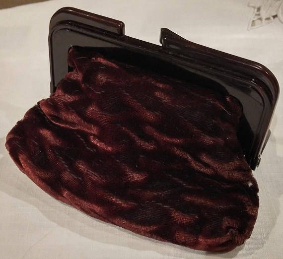 Vintage 80s/90s Lined Crushed Velvet Change Purse or Small Clutch with Plastic Snap Closure