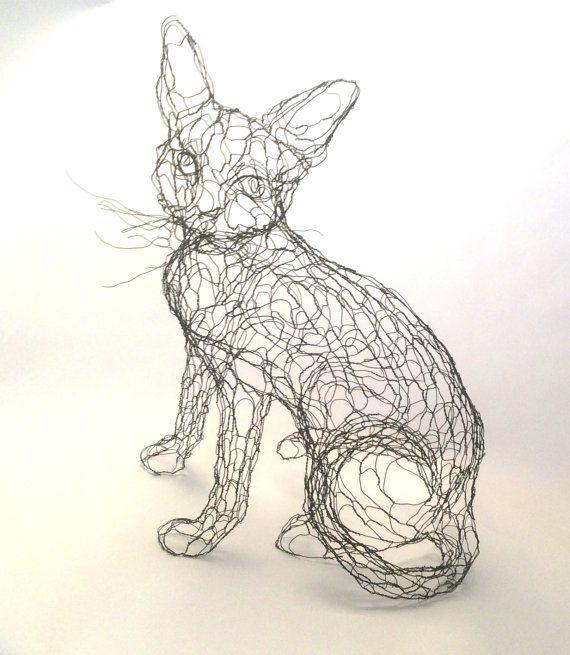Fil Sculpture chat : 15 po fil Art Kitty 3D par par WireZoo sur Etsy
