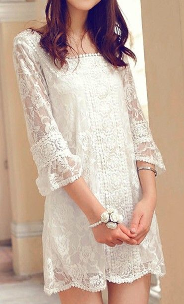 Romantic style | White lace dress.  dresslily.com