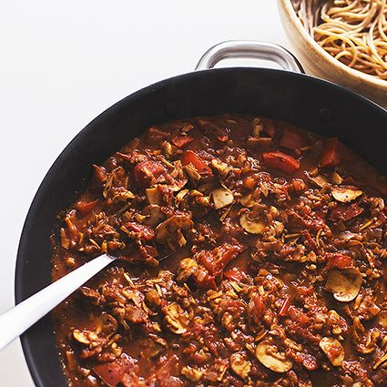 "Meet our spicy wholesome take on a great italian classic: a Mushroom & Walnut ""Bolognese"" that requires only natural, plant-based ingredients. It is so delicious and flavourful we usually devour it in less than the blink of an eye!"