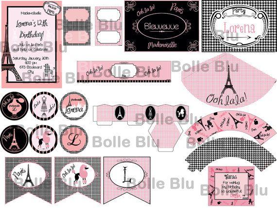 Parigi Festa Oh la la Classico Pied Poule Fai da di BolleBluParty, €20.00