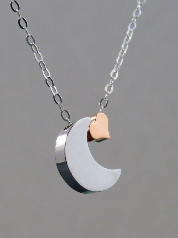 I love you to the moon Heart and moon Necklace by TheDirection