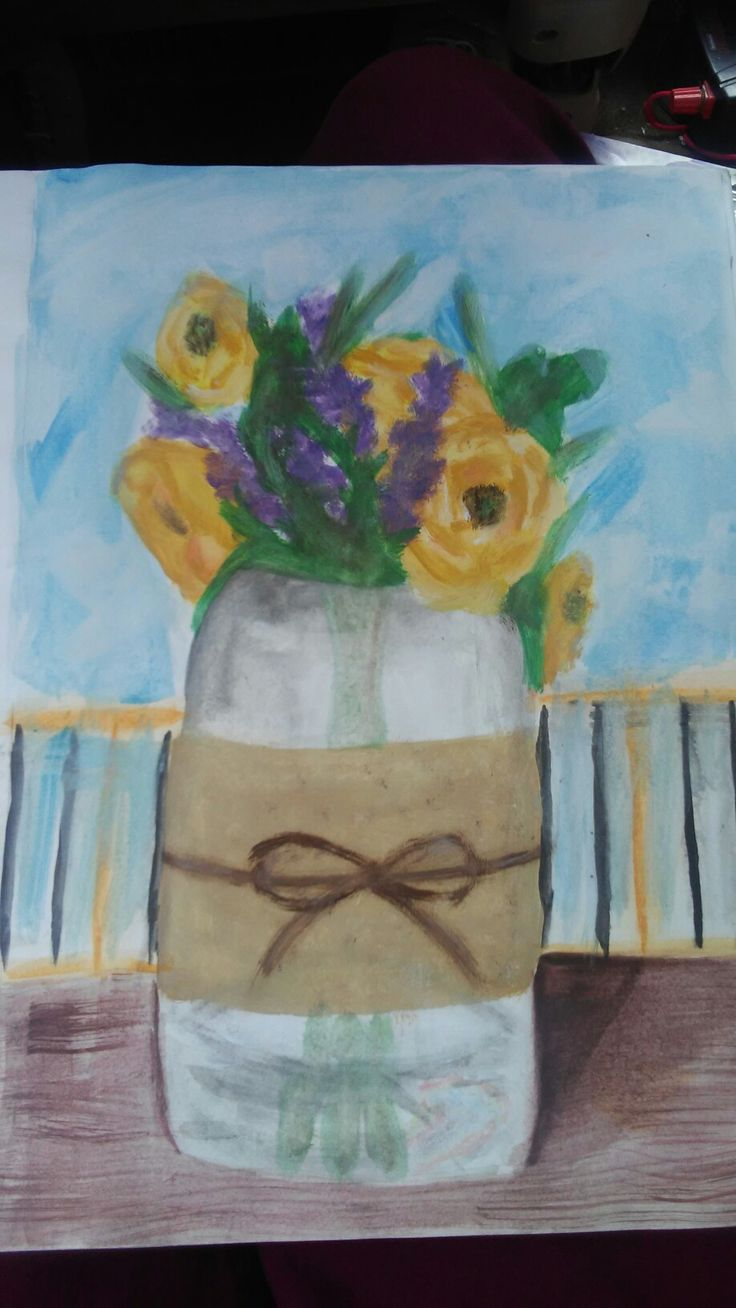 I have a vase with fake flowers inside. Drew it one day using watercolours and I don't think it looks too bad