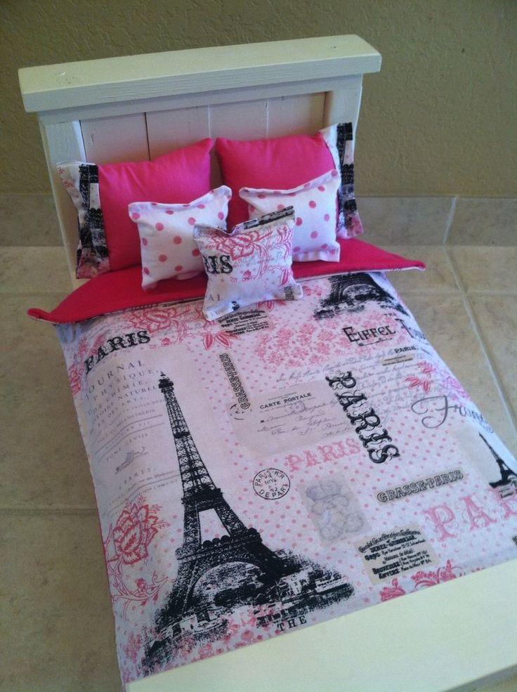 American Girl Grace Inspired 18 Inch Doll Bedding Paris Eiffel Tower 6 Piece Set