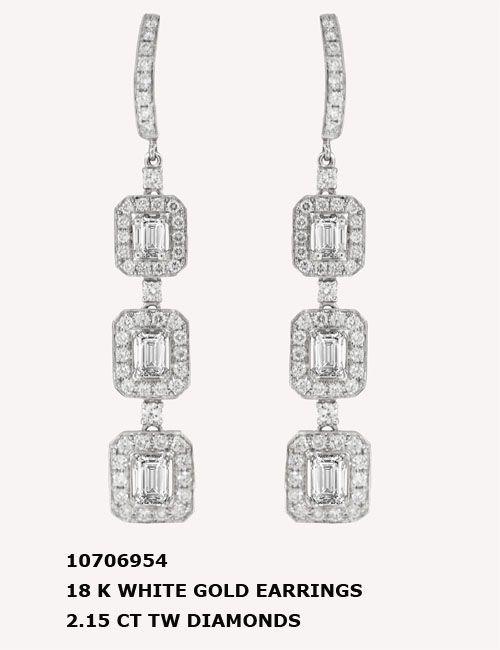 10706954 18 K WHITE GOLD EARRINGS 2.15 CT TW DIAMONDS