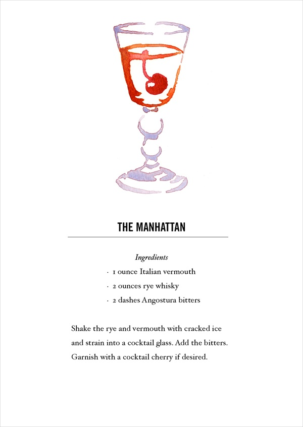 Manhattan Cocktail Recipe Card. Postcard back. Buy all 12 here: https://www.etsy.com/listing/118013624/classic-cocktail-recipe-cards-12