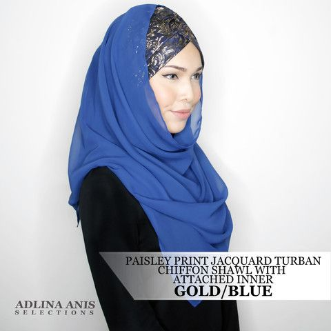 PAISLEY PRINT JACQUARD TURBAN CHIFFON SHAWL WITH ATTACHED INNER - GOLD/BLUE  $68.00 SGD  Limited Edition Slip-on Turban with shawl and attached ninja providing a fuller coverage. Style it like the onesie. Size: Fits small to medium  You'll find only the best hijabs / tudungs / scarves that are shipped worldwide.  Click through to the website to find out more.