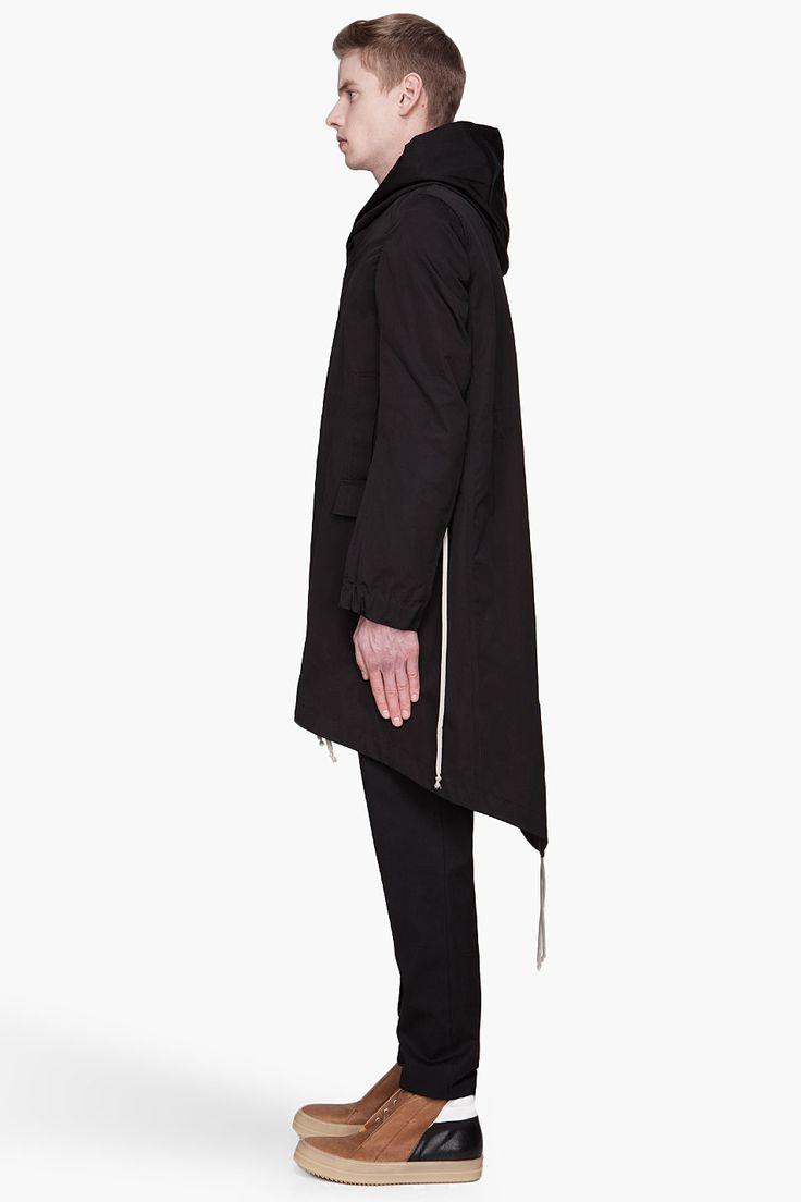 RICK OWENS Black hooded fishtail Parka
