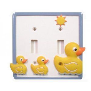 Just Ducky Double Light Switch Plate - Yellow Rubber Duck Bathroom Decor