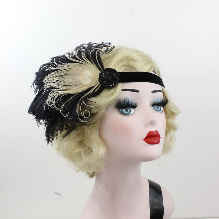 Black Feather Fascinator - Ivory Peacock Feather Headband - 1920's Flapper Head Piece - Great Gatsby Party Costume - Prom Hair Accessory