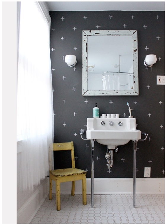 I <3 this bathroom. Could totally see us doing this in our basement bathroom. Love the playful vibe it has. :) via @designsponge: Wall Patterns, Ideas, Chalkboardpaint, Chalkboards Paintings, Chalkboard Paint, Bathroom Wall, Paintings Wall, Black Wall, Chalkboards Wall