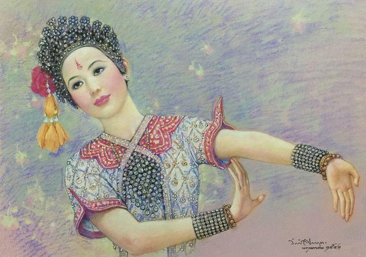 """Chui-Chai Brahmin"", 1998, pastel crayon on paper, by Chakrabhand Posayakrit, a Thai national artist"