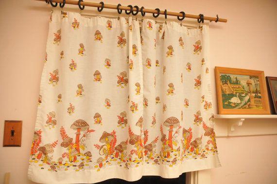 Vintage Mushroom Curtain Panels Pole Pocket Yellow Orange Brown Pair 1970s on Etsy, $32.00