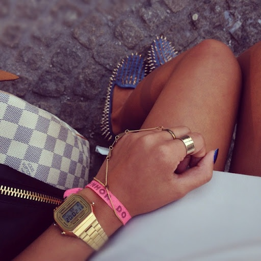 Unif Shoes, Louis Vuitton Bag, Casio Gold Watch, Zara Dress, Mango Jacket, Asos Ring - Swaag - Download Swaag for iPhone at www.swaag.it