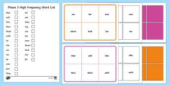 Phase 3 High Frequency Word Bingo - australia, bingo, game, activity, phase three, high frequency words, high frequency, words, phase 3,