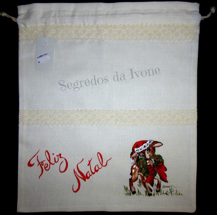 AC18- Saco de pão pintado - motivo de Natal