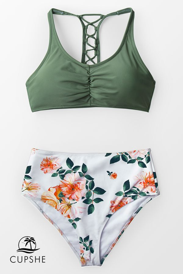 e090293214 The green bikini top features ruched front and lace-up back. The white and  orange floral matching high-waisted bikini bottom strikes the perfect  balance ...