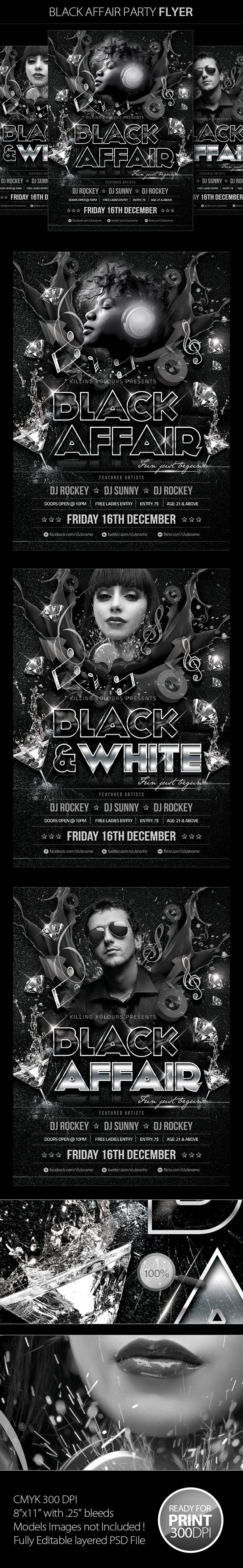 Black Affair Party Flyer by Mahantesh Nagashetty, via Behance