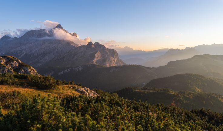 View of the Mount Civetta in the italian dolomites during the sunset
