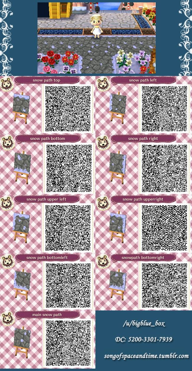 Acnl Qr Code Snowy Stone Path Acnl Outdoor Patterns