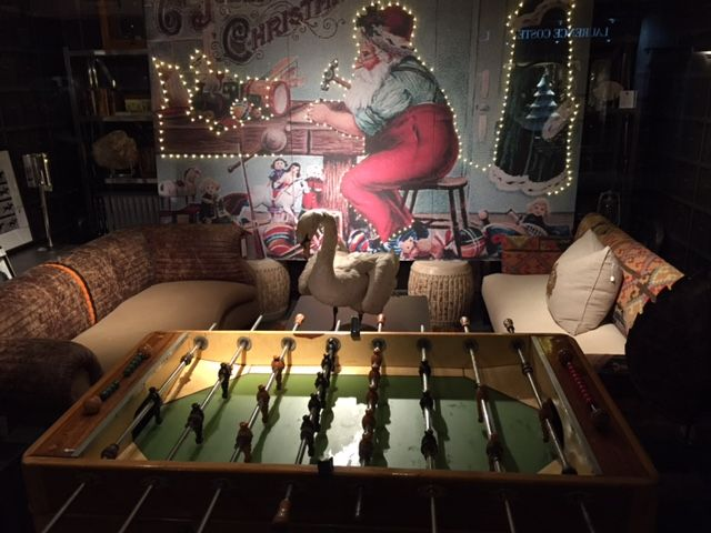 #foosballtable #andrewmartin #interiordesign #decor #santa #london #leather #sofa #christmas #lights #showroom