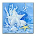 This beautiful artwork by Paul Brent has been digitally reproduced for tiles and depicts a nice starfish scene.    Tile murals with shells and decorative shell