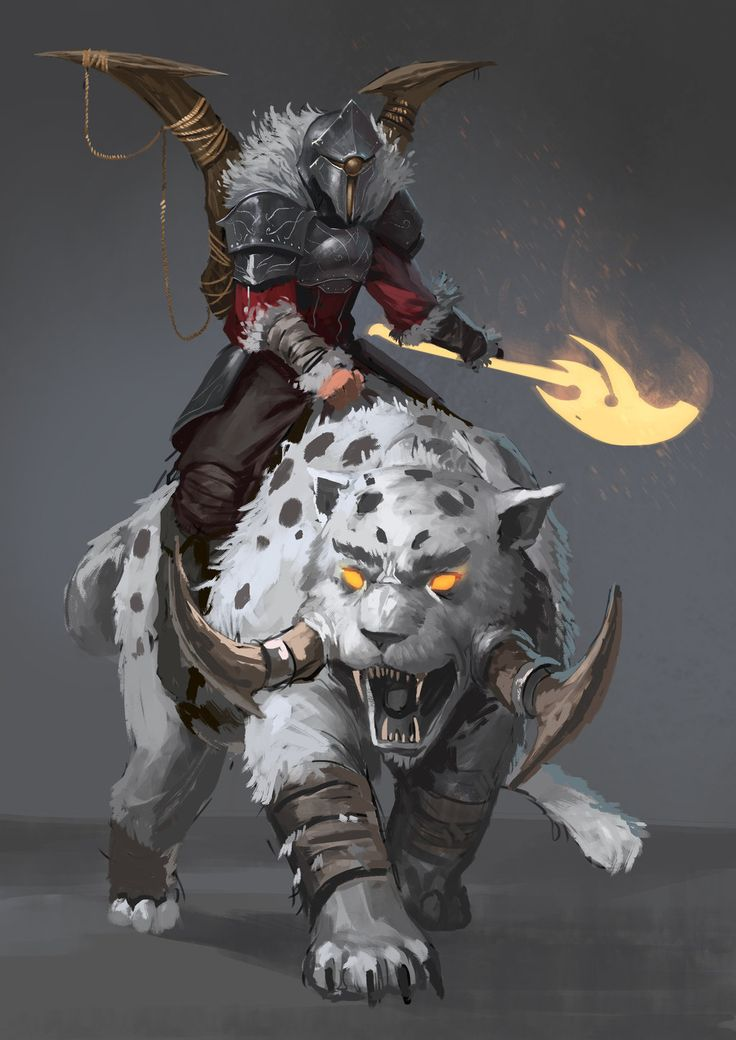 Red Knight - The Beastmaster by JoshCorpuz85 MEFCC saber tooth cat snow leopard fighter rider magic flaming fire axe monster creature beast armor clothes clothing fashion player character npc   Create your own roleplaying game material w/ RPG Bard: www.rpgbard.com   Writing inspiration for Dungeons and Dragons DND D&D Pathfinder PFRPG Warhammer 40k Star Wars Shadowrun Call of Cthulhu Lord of the Rings LoTR + d20 fantasy science fiction scifi horror design   Not Trusty Sword art: click…