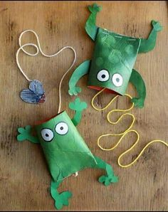 Toilet paper frogs with flies