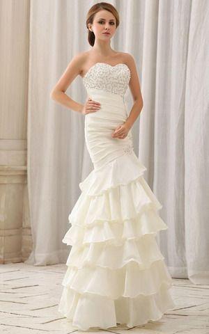 Plissiertes ärmellos sexy mehrschichtiges pompöse Brautkleid mit mehrschichtigen Rüsche