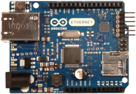The Arduino Ethernet is a microcontroller board based on the ATmega328. It has 14 digital input/output pins, 6 analog inputs, a 16 MHz crystal oscillator, a RJ45 connection, a power jack, an ICSP header, and a reset button.