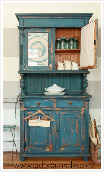 Chippy farmhouse cabinet painted in MMS milk paint in Flow Blue.