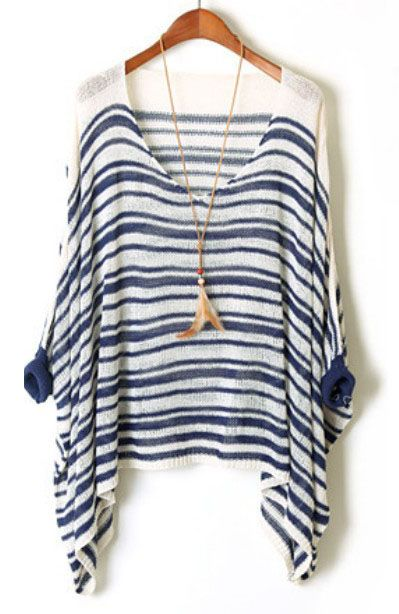 Blue White Striped Batwing Sleeve Loose Sweater US$24.43