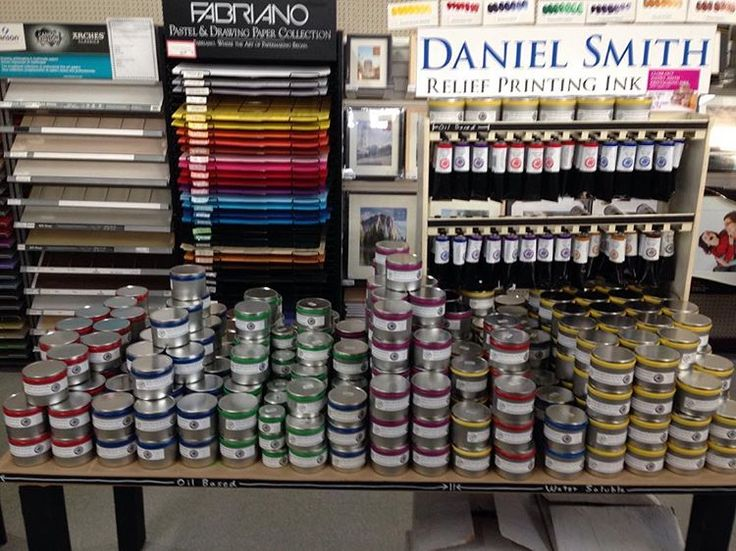 The final 500 cans of Daniel Smith etching and relief inks are only available at the Seattle Daniel Smith store.  Mostly variations of reds, blues, and greens.  Oil and water based! #danielsmith #danielsmithink #dansmith #printmaking #artstore #etchingink #reliefink #seattle #printmakers #etching #relief
